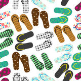 Colorful variation of flip flops summer shoes seamless pattern eps10 Stock Image