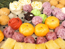 The colorful variety of chinese-style pastries Royalty Free Stock Photos