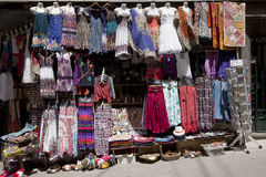 Colorful variety of handicrafts clothing in Albaicin, Granada, Spain Royalty Free Stock Image