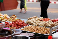 Colorful and variety of street food Stock Photos