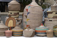 A Colorful Variety of Woven African Baskets Royalty Free Stock Image