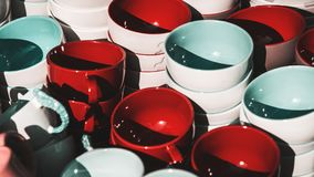 Colorful various ceramic pottery bowls Royalty Free Stock Images