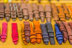 Colorful and various of leather watch wrist strap for sale the watch shop. Colorful and various of leather watch wrist strap for sale the watch shop Stock Photo