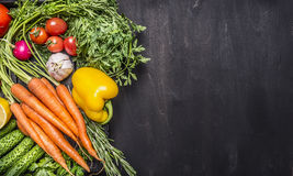 Colorful various of organic farm vegetables in a wooden box on wooden rustic background top view close up border ,place text Royalty Free Stock Image