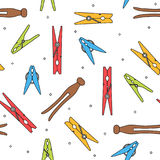 Colorful various types of clothes pin pegs seamless pattern Stock Photo