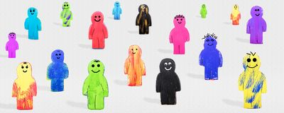 Colorful various wooden figures, concept incorperation and collecitve solidarity. Banner, colorful various wooden figures, concept incorperation and collecitve royalty free stock photos