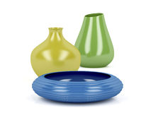 Colorful vases and bowl Stock Photo
