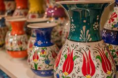 Colorful vases royalty free stock photography