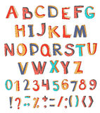 Colorful vector abstract alphabet with numbers and symbols. Royalty Free Stock Image