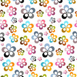 Colorful Vector Abstract Flowers Seamless Background. Retro Colorful Vector Abstract Flowers Seamless Background Royalty Free Stock Photo