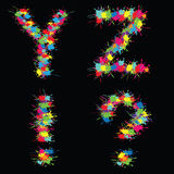 Colorful vector alphabet with blots YZ. Colorful beauty vector alphabet with blots YZ Stock Image