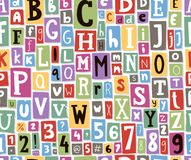 Colorful vector alphabet letters made of newspaper magazine font type. Colorful vector alphabet letters seamless pattern background made of newspaper magazine Royalty Free Stock Photo