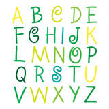 Colorful vector alphabet letters on white illustra. Yellow, Light Green and green vector alphabet letters on white illustration Stock Photography