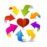 Colorful Vector Arrows Around Red Paper Heart. Colorful Vector Arrows Around Red Paper Cut Heart stock illustration