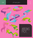 Colorful vector arrows elements. On pink isolated background Stock Photo