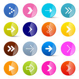 Colorful Vector Arrows Set in Circles Stock Image