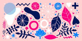 Colorful vector background with hand drawn floral elements. Can be used for advertising, web design and printed media. Colorful vector background with hand Stock Image