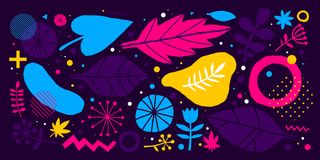 Colorful vector background with hand drawn floral elements. Can be used for advertising, web design and printed media. Colorful vector background with hand Royalty Free Stock Images
