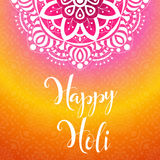 Colorful vector background. Happy Holi spring festival. Poster with mandala for Indian holiday. Stock Photo