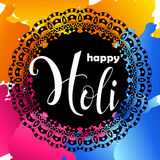 Colorful vector background. Happy Holi spring festival. Poster with mandala for Indian holiday. Stock Photos