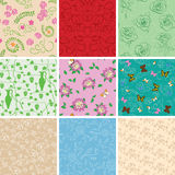 Colorful vector backgrounds - floral seamless patterns Stock Photos
