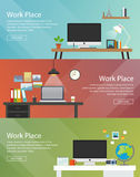 Colorful vector banners set. Workplace. Stock Image
