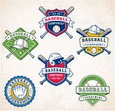 Colorful Vector Baseball logos. Collection of six colorful Vector Baseball logo and insignias Royalty Free Stock Photography