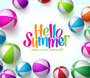 Colorful Vector Beach Balls Background in White with Hello Summer Royalty Free Stock Photo