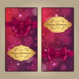Colorful vector birthday card with bow and bokeh background. Colorful vector birthday card with bow and bokeh background Stock Image