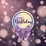 Colorful vector birthday card with bow and bokeh background. Colorful vector birthday card with bow and bokeh background Stock Photo
