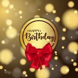 Colorful vector birthday card with bow and bokeh background. Colorful vector birthday card with bow and bokeh background Royalty Free Stock Photos