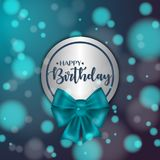 Colorful vector birthday card with bow and bokeh background. Colorful vector birthday card with bow and bokeh background Royalty Free Stock Photography