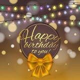 Colorful vector birthday card decorated with bow and glowing light bulbs design. Colorful vector birthday card decorated with bow and glowing light bulbs design Stock Images