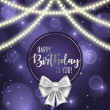 Colorful vector birthday card decorated with bow and glowing light bulbs design. Colorful vector birthday card decorated with bow and glowing light bulbs design Stock Photography