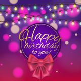 Colorful vector birthday card decorated with bow and glowing light bulbs design. Colorful vector birthday card decorated with bow and glowing light bulbs design Stock Image