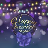 Colorful vector birthday card decorated with bow and glowing light bulbs design. Colorful vector birthday card decorated with bow and glowing light bulbs design Royalty Free Stock Images
