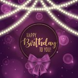 Colorful vector birthday card decorated with bow and glowing light bulbs design. Colorful vector birthday card decorated with bow and glowing light bulbs design Royalty Free Stock Photo