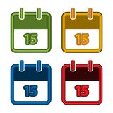 Colorful vector calendar. Calendar Date. 15. Flat desig. N. EPS file available. see more images related stock illustration
