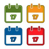 Colorful vector calendar. Calendar Date. 17. Flat desig. N. EPS file available. see more images related stock illustration