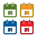 Colorful vector calendar. Calendar Date. 31. Flat desig. N. EPS file available. see more images related stock illustration