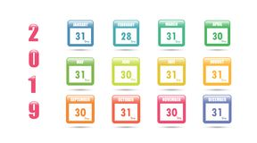Colorful vector calendar for 2019 with the number of days in a month. Vector illustration stock illustration