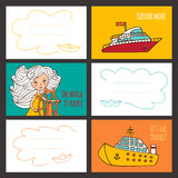 Colorful vector card cute girl and ships. Royalty Free Stock Photography