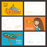 Colorful vector card cute girl and ships. Stock Photos