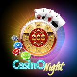 Colorful vector casino banner with cards and chips Royalty Free Stock Photos