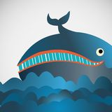 Colorful vector cheerful whale in the sea Stock Photography