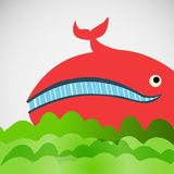 Colorful vector cheerful whale in the sea Royalty Free Stock Photo