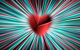 Colorful vector. From the chopped, broken red heart in the middle diverge the color stripes to the edges. For Valentines Day. stock photography