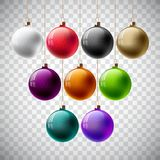 Colorful Vector Christmas Ball Set on a Transparent Background. Stock Image
