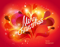 Colorful vector christmas card. With  explosion and ball on red background Stock Photography