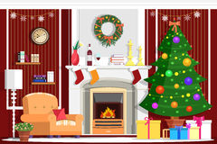 Colorful vector Christmas room interior design with fireplace. Christmas tree, gifts, decoration and modern furniture Royalty Free Stock Photography
